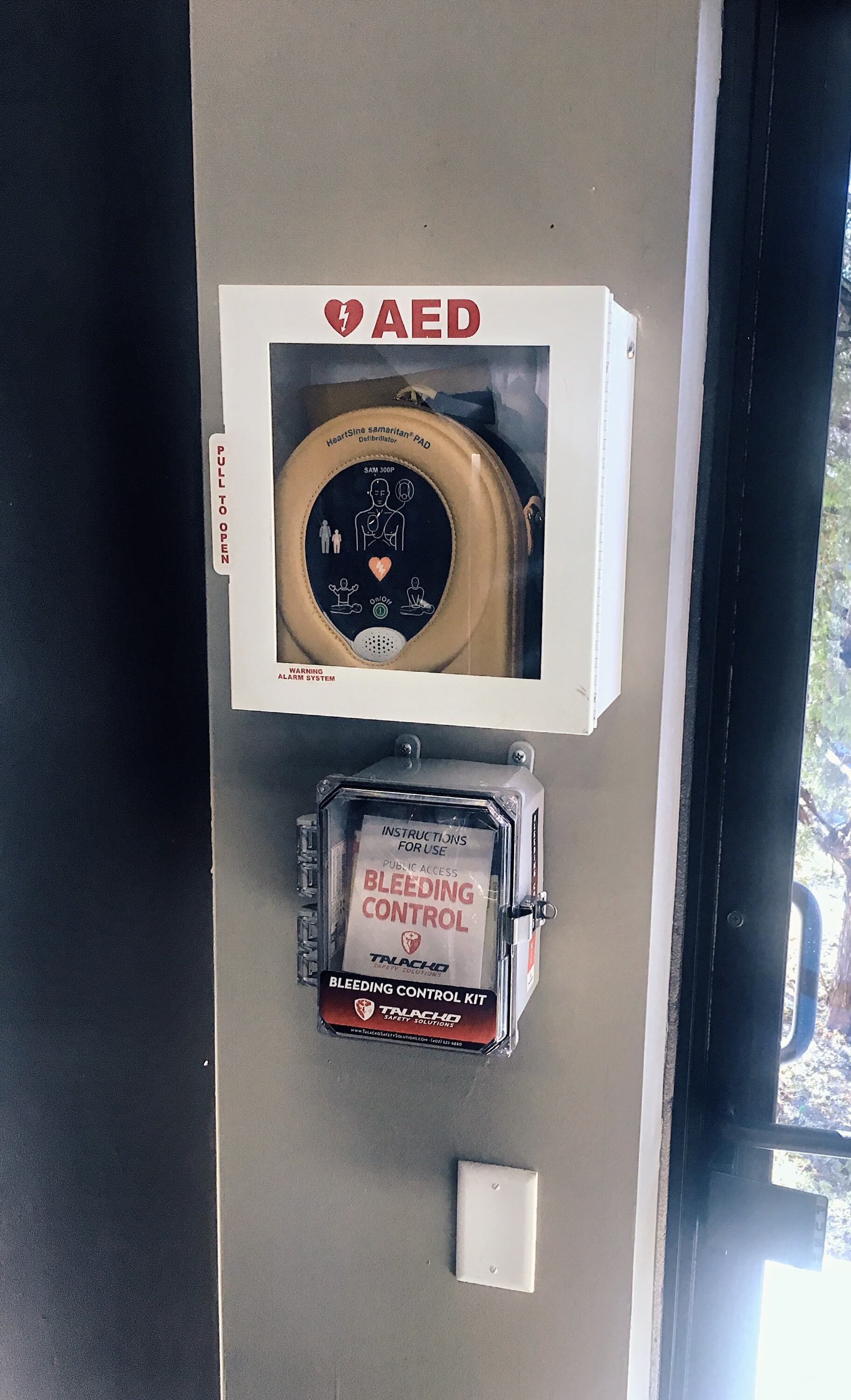 Public access bleeding control kits are often placed next to AED's in public facilities.