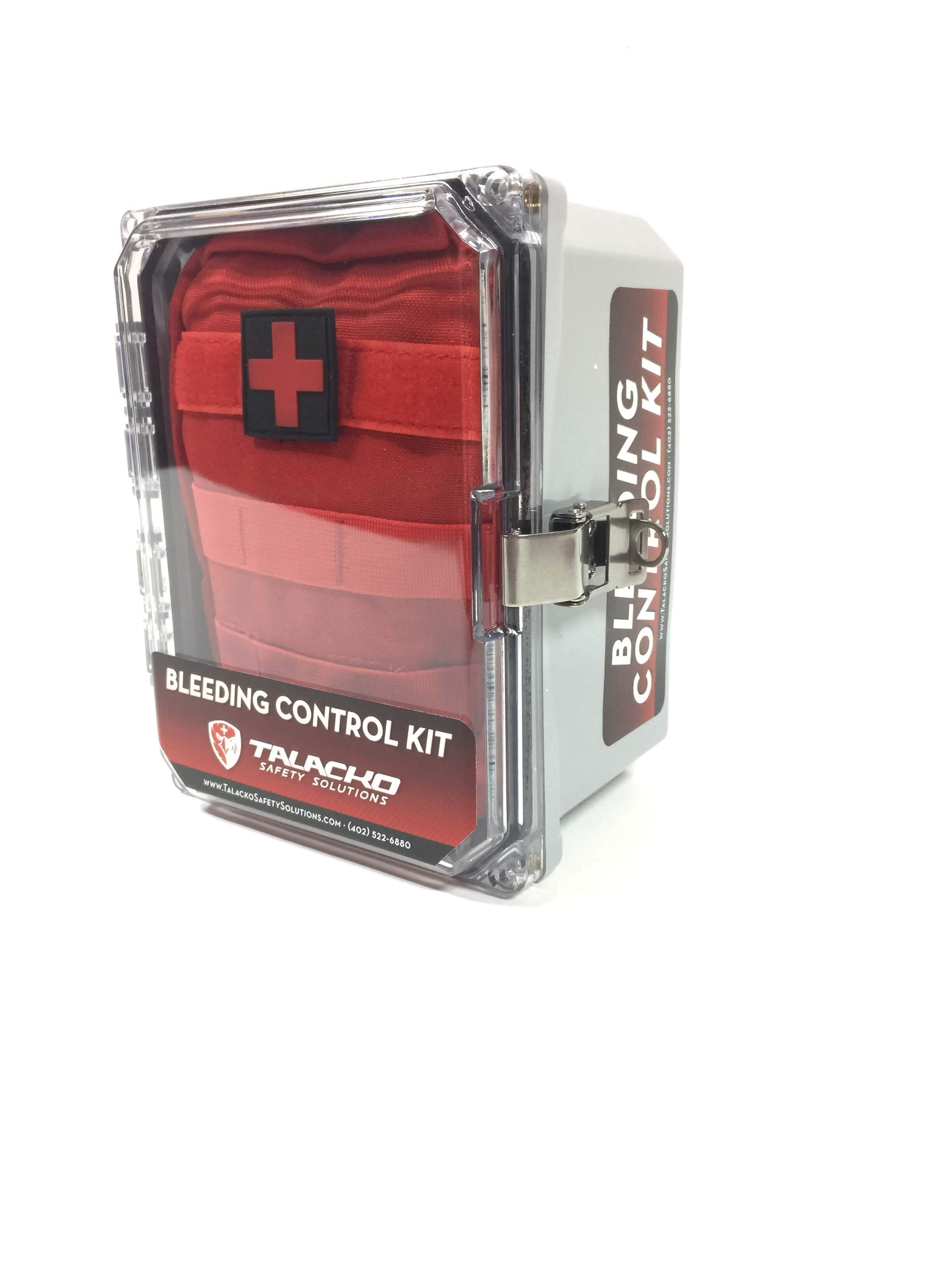 Basic Bleeding Control Kit in Nylon bag with 8x6x4 public access enclosure.