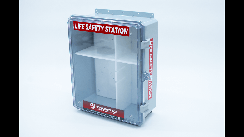 Life Safety Station combines an AED, bleeding control, and multiple other life-saving products of your choice (Epi-Pen, Narcan and or first aid)