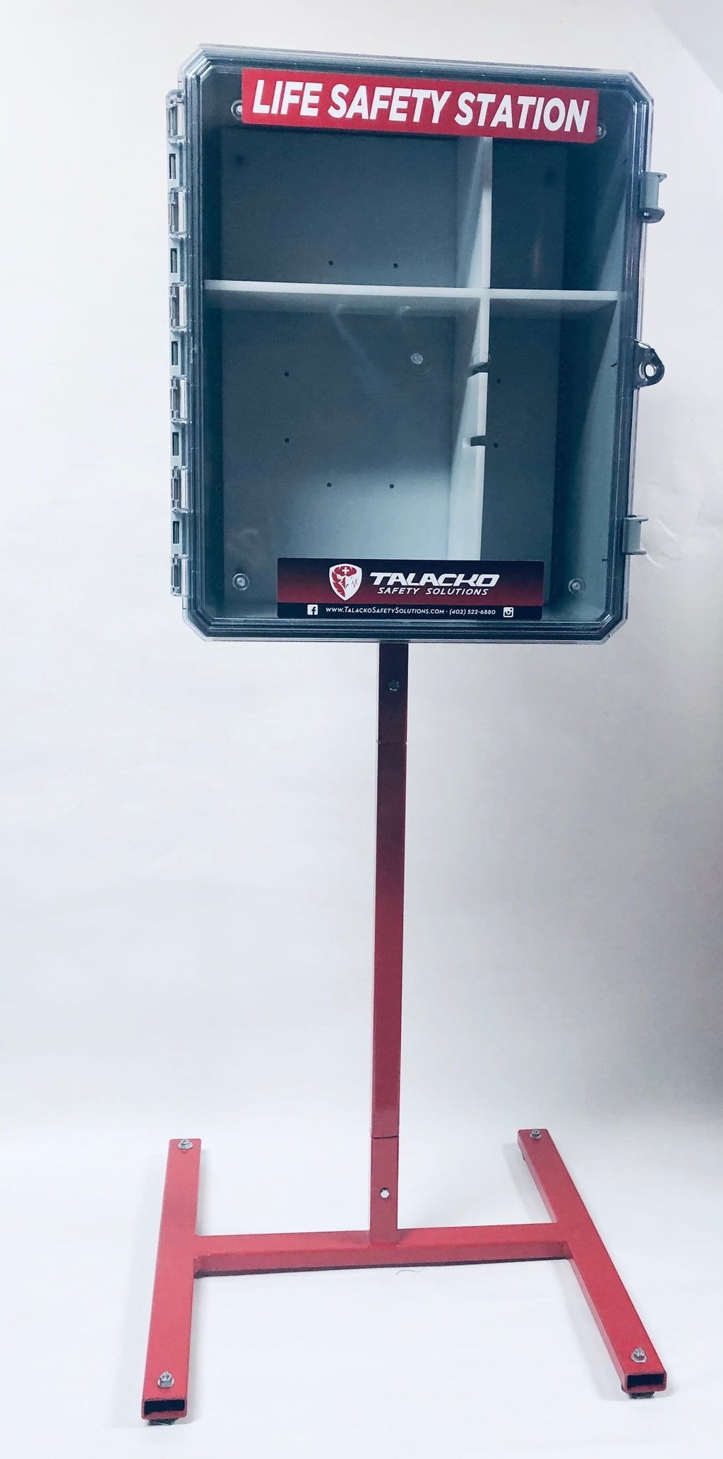 Talacko Safety Solutions Emergency Equipment Platform allows our Life Safety Station and our King Bleeding Control Station to be placed ANYWHERE indoors or out