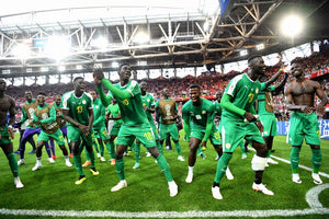 Senegal national team dancing at the World Cup 2018 after beating Poland 2-1 in the group stage
