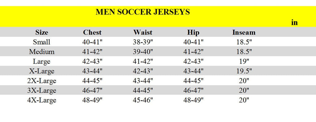 Jerseyclub.net secondary size chart for mens
