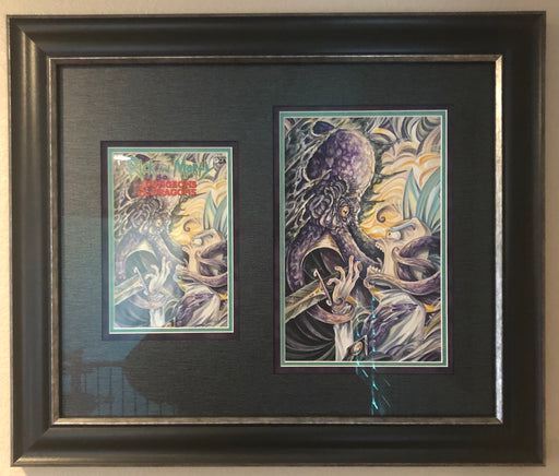 Mainstream Museum of Comics & Comic Art - Rick & Morty #1 (1:10 ratio variant) Dungeons and Dragons - Original Cover Art w/ completed Comic Book in custom frame.