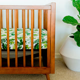 Cotton Muslin Cot Sheet - Tropical Leaf
