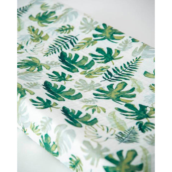 Muslin Changing Pad Cover - Tropical Leaf
