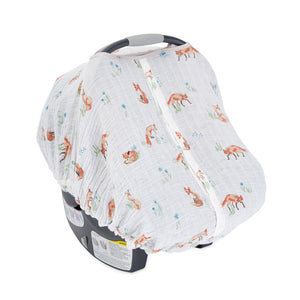 Muslin Car Seat Canopy - Fox