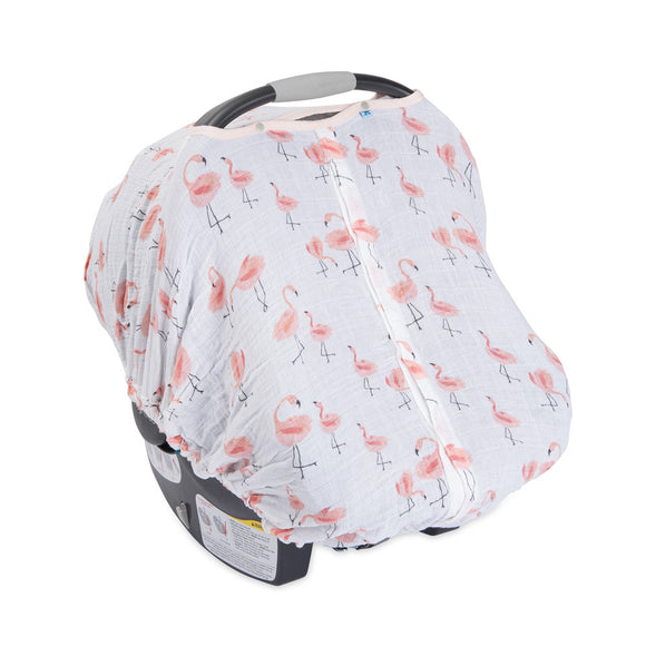 Muslin Car Seat Canopy - Pink Ladies