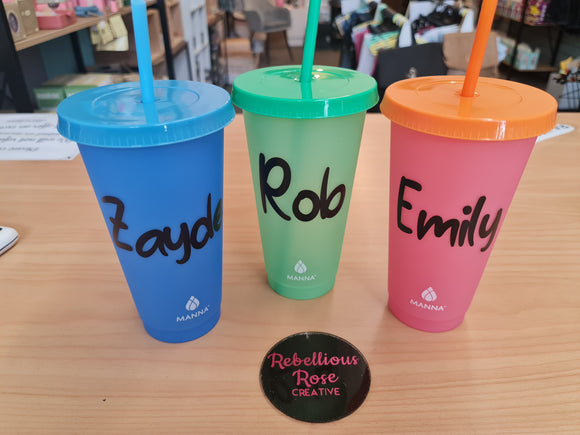 Personalised colour changing tumblers.