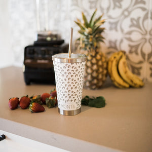 MONTIICO ORIGINAL SMOOTHIE CUP - WHITE LEOPARD PRINT