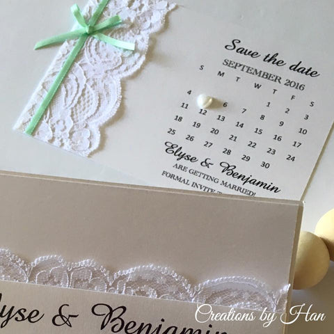 Lace and mint save the date