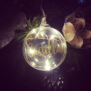 LED light up Personalised Baubles