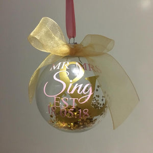 "Pink and Gold ""First Christmas"" Personalised Baubles"