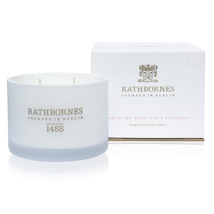 Rathbornes - Scented Candle - Dublin Tea Rose, Oud & Patchouli - Kates Kitchen