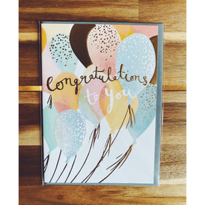 """Congrats Balloons"" Gift Card - Kate's Kitchen"
