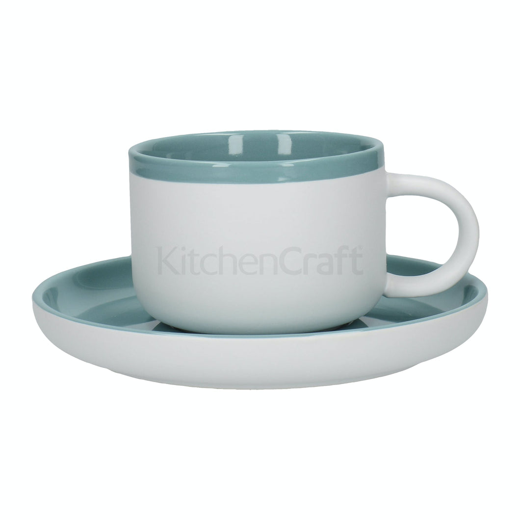 La Cafetiere Barcelona Retro Blue 250ml Tea Cup and Saucer - Kate's Kitchen