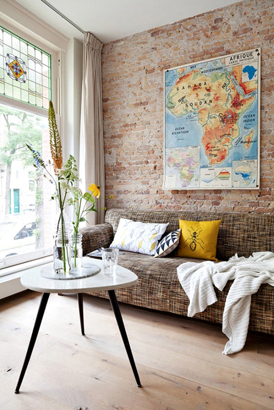 Map it | Vintage Africa Map industrial style in a Rotterdam home via VTWonen magazine