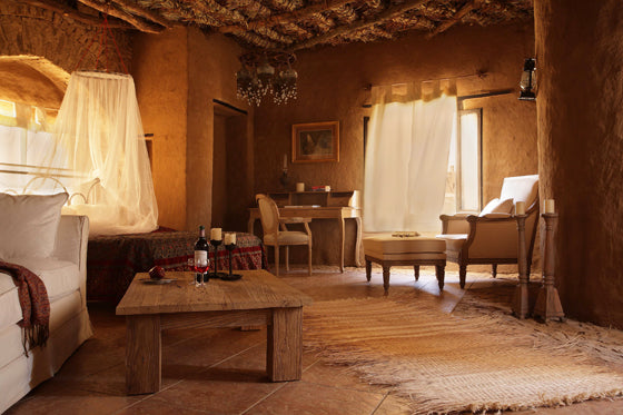 Safari Journal / Blog by Safari Fusion | Desert oasis | Saharan mud architecture and interiors of Al Tarfa Desert Sanctuary, Dakhla Oasis Egypt