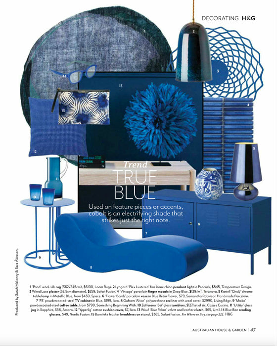 Trend True Blue | Australian House & Garden / Sep 2018 | Seen In | Safari Fusion www.safarifusion.com.au