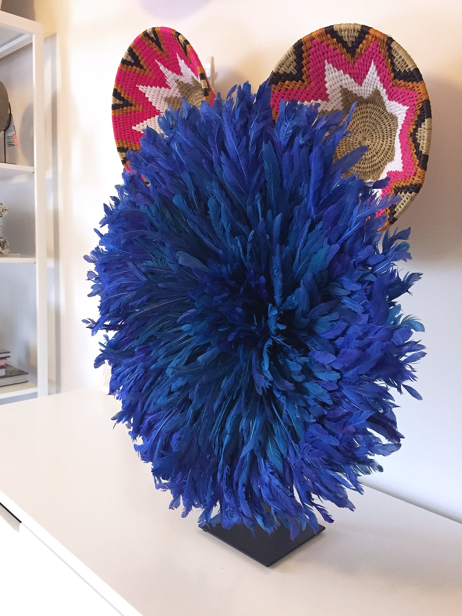Safari Journal / Blog by Safari Fusion | Happy customer | Bamileke Feather Headdress (small | blue) on Stand by Safari Fusion