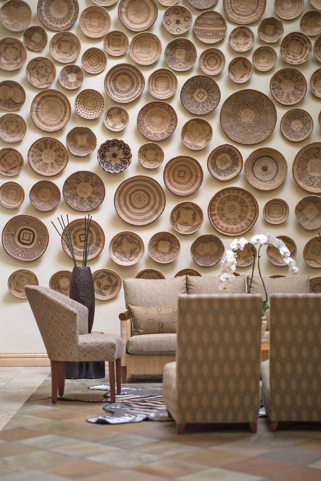 Safari Journal / Blog by Safari Fusion | African baskets / batonga |  Batonga [tonga] Basket wall at the Saxon Hotel, Johannesburg / South Africa