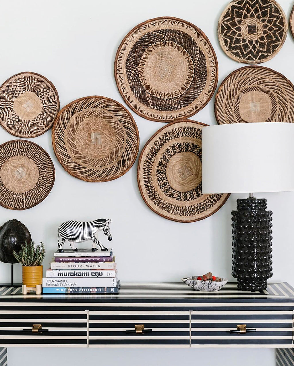 Safari Journal / Blog by Safari Fusion | African baskets / batonga | Beautiful batonga [tonga] basket feature wall by design studio House of Nomad
