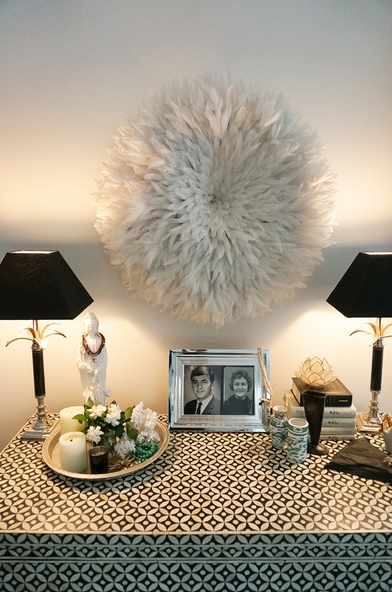 Safari Journal / Blog by Safari Fusion | Inside a customer's home | Safari Fusion's White Bamileke Feather Headdress Juju hat finds a wonderful new home