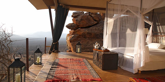 Four-poster beds | Safari style natural elements at Saruni Safari Lodge, Samburu Kenya