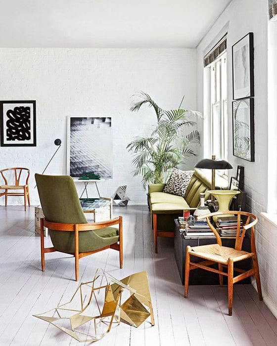 A green seat | Mid century style seating in a Cape Town apartment