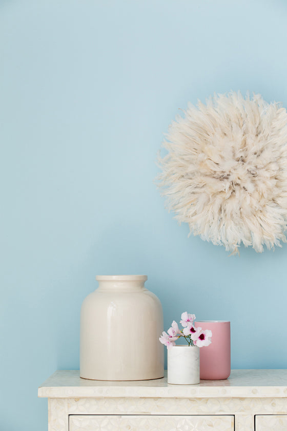 Safari Journal / Blog by Safari Fusion | Haymes + Safari Fusion | The Colour Library Conscious palette - soft, light and airy pinks, blues and greys with Safari Fusion's creamy small white Bamileke Feather Headdress [Juju hat]