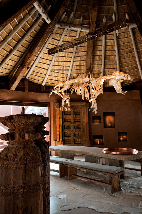 Safari Journal / Blog by Safari Fusion | Light the way [part 2] | Hippo skeleton chandelier at the exclusive Leobo Lodge / Waterberg, South Africa