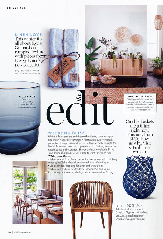 Lifestyle The Edit: Weekend Bliss | Maire Claire / July 2018 | | Seen In | Safari Fusion www.safarifusion.com.au