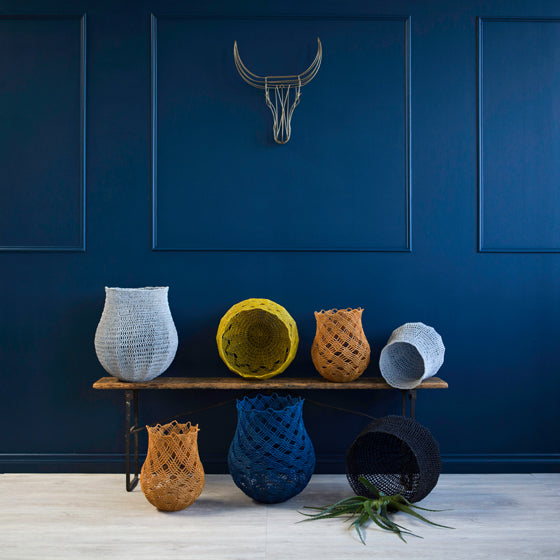 Nguni Wire Head and Crochet Baskets | Modern Tribal by Safari Fusion | Image © Safari Fusion