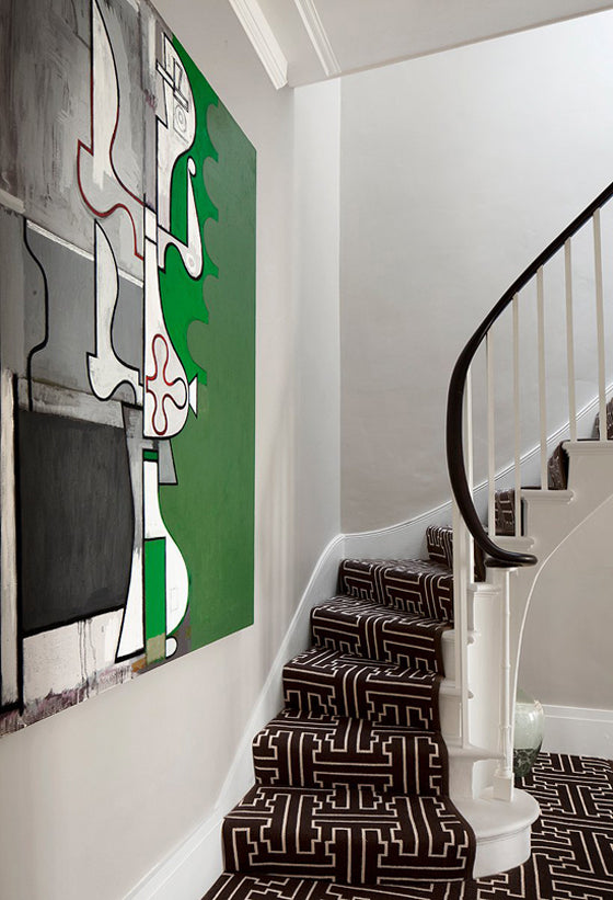 Mud cloth | Bogolan inspired geometric carpet in a London home via Bruce Norman Interior Design