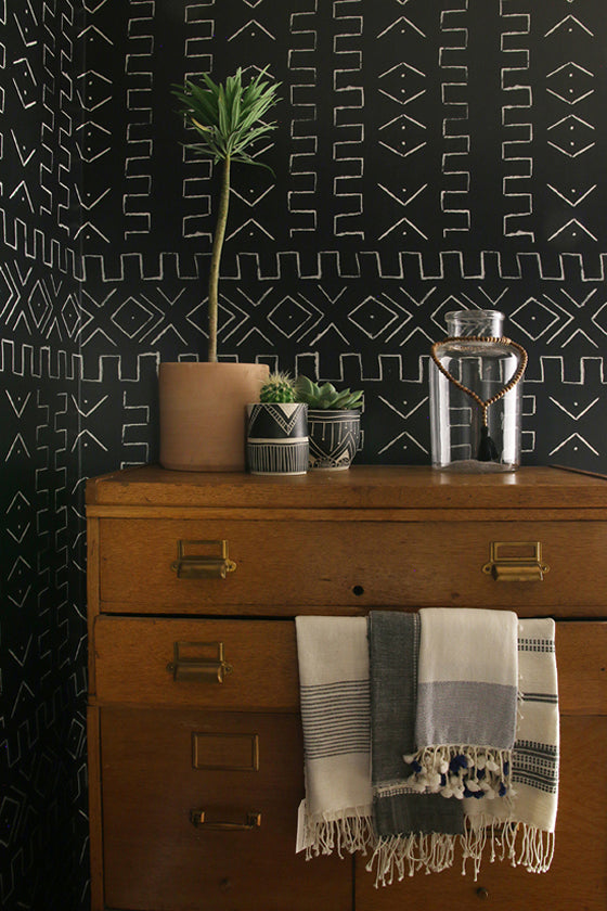 Mud cloth | Bogolan inspired geometric 'Mali' wallpaper by Amber Interiors