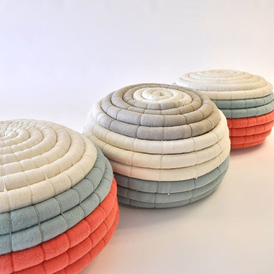 Safari Journal / Blog by Safari Fusion | Living coral | Pantone Color of the Year 2019 | South African designer Ronel Jordaan's Felt Ottomans