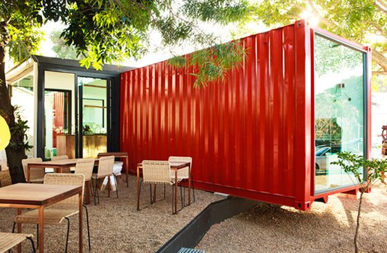 Ship it [part 1] | The Freedom Cafe in Durban South Africa is constructed using a bright red shipping container