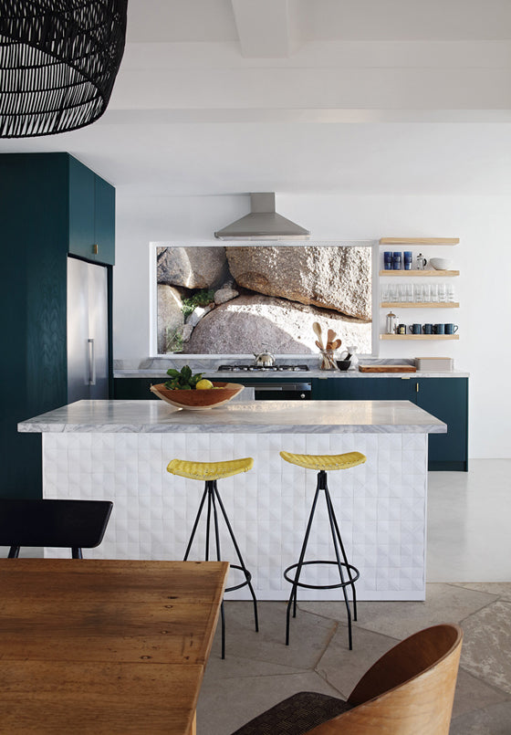 Safari Journal / Blog by Safari Fusion | Summer sea views | Kitchen complete with boulders Icaria / Bantry Bay, South Africa