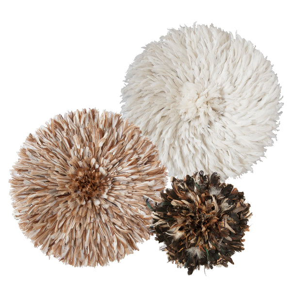 Bamileke Feather Headdress (display of 3 | Natural, White, White + Small Dark Natural) | Juju Hats by Safari Fusion www.safarifusion.com.au