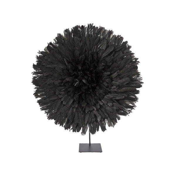 Bamileke Feather Headdress (small | black) with Stand | Juju Hat by Safari Fusion www.safarifusion.com.au