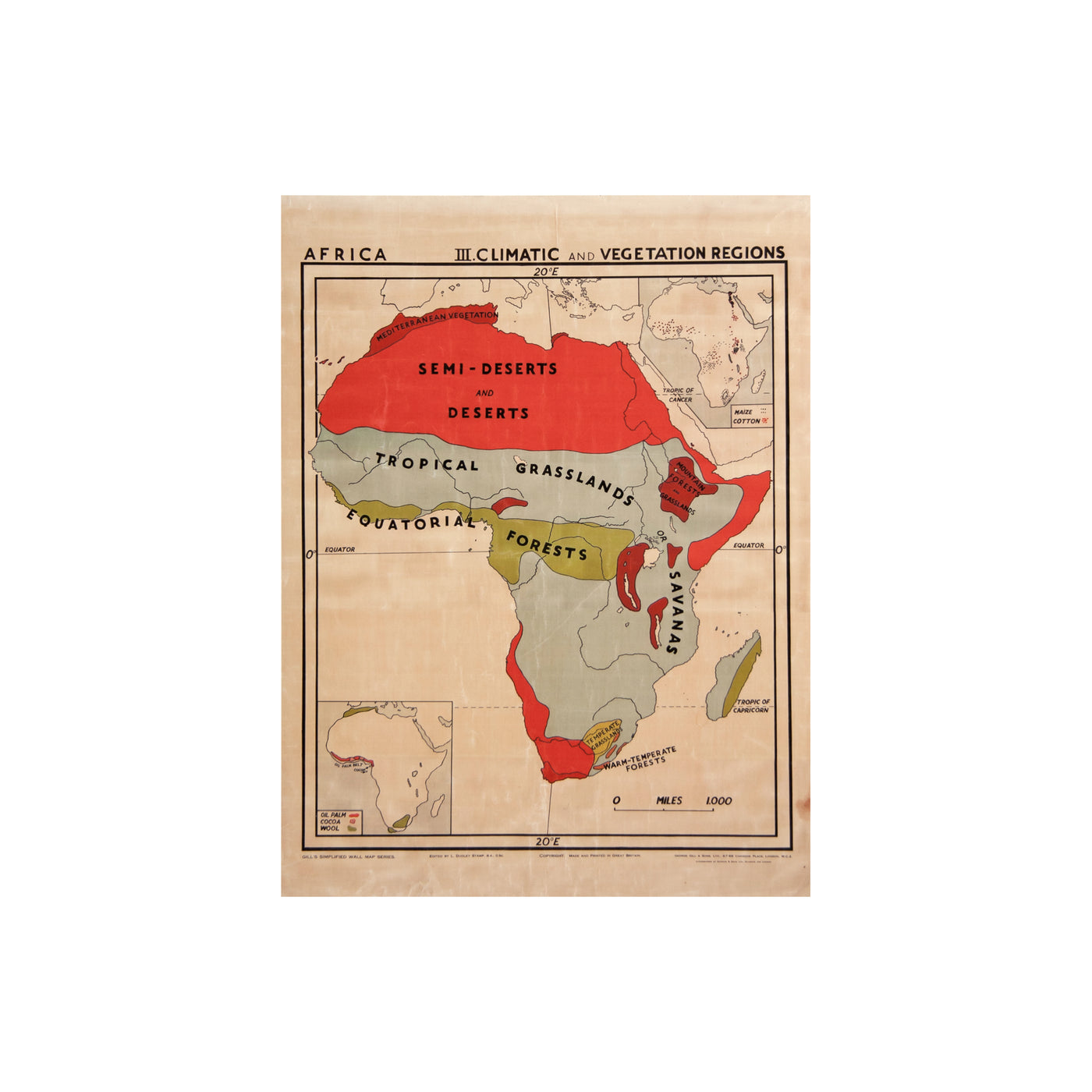 Vintage Africa Map (climatic) by Safari Fusion www.safarifusion.com.au