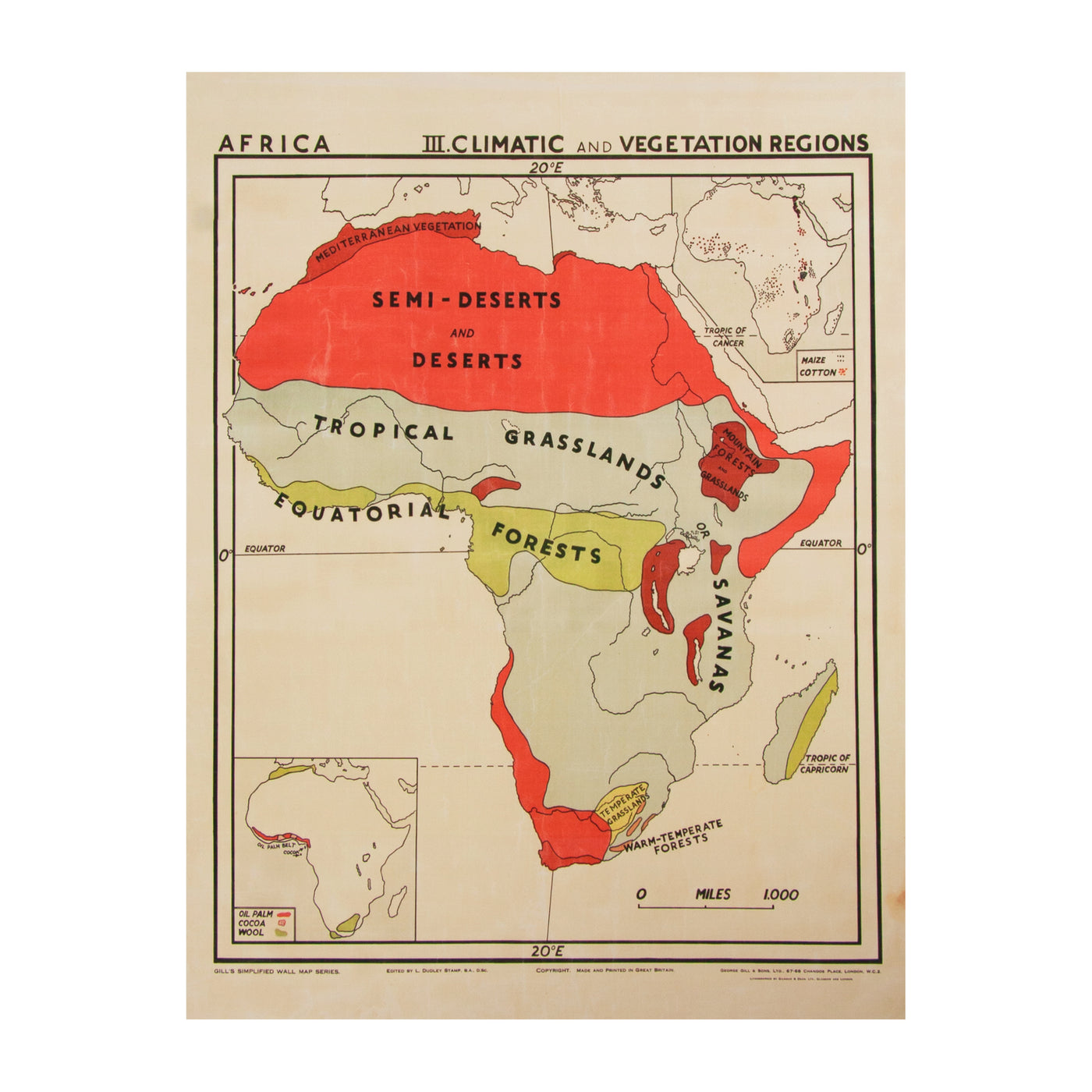 Vintage Africa Map (large | climatic) by Safari Fusion www.safarifusion.com.au