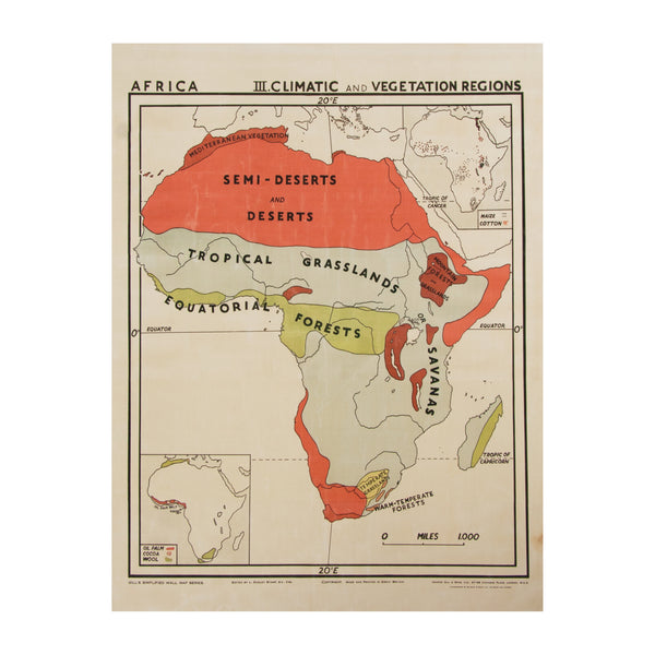 Vintage Africa Map (small | climatic) by Safari Fusion www.safarifusion.com.au