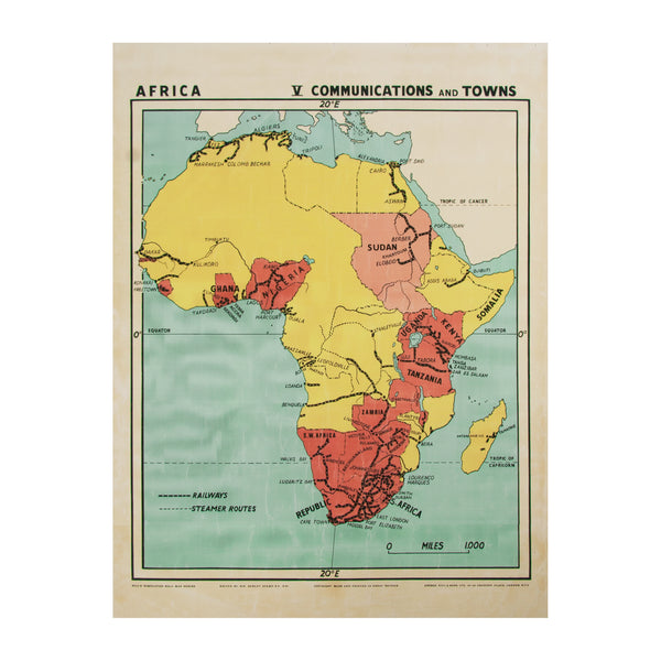 Vintage Africa Map (small | communications) by Safari Fusion www.safarifusion.com.au