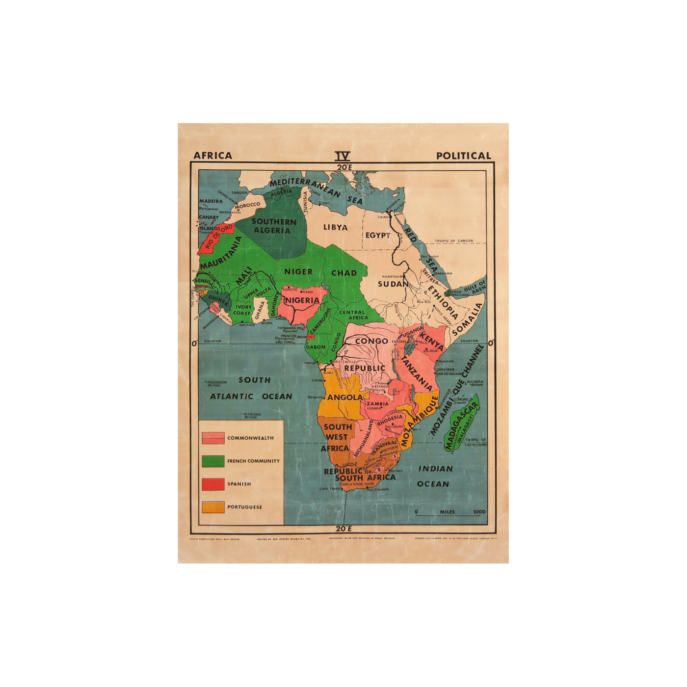 Vintage Africa Map (mini | political) | Travel art by Safari Fusion
