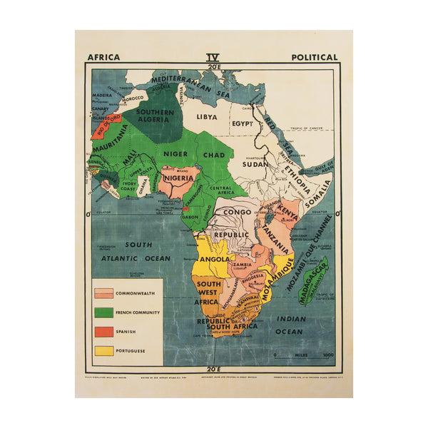 Vintage Africa Map (small | political) by Safari Fusion www.safarifusion.com.au
