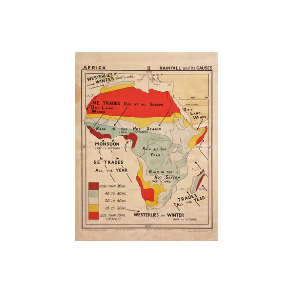 Vintage Africa Map (rainfall) by Safari Fusion www.safarifusion.com.au