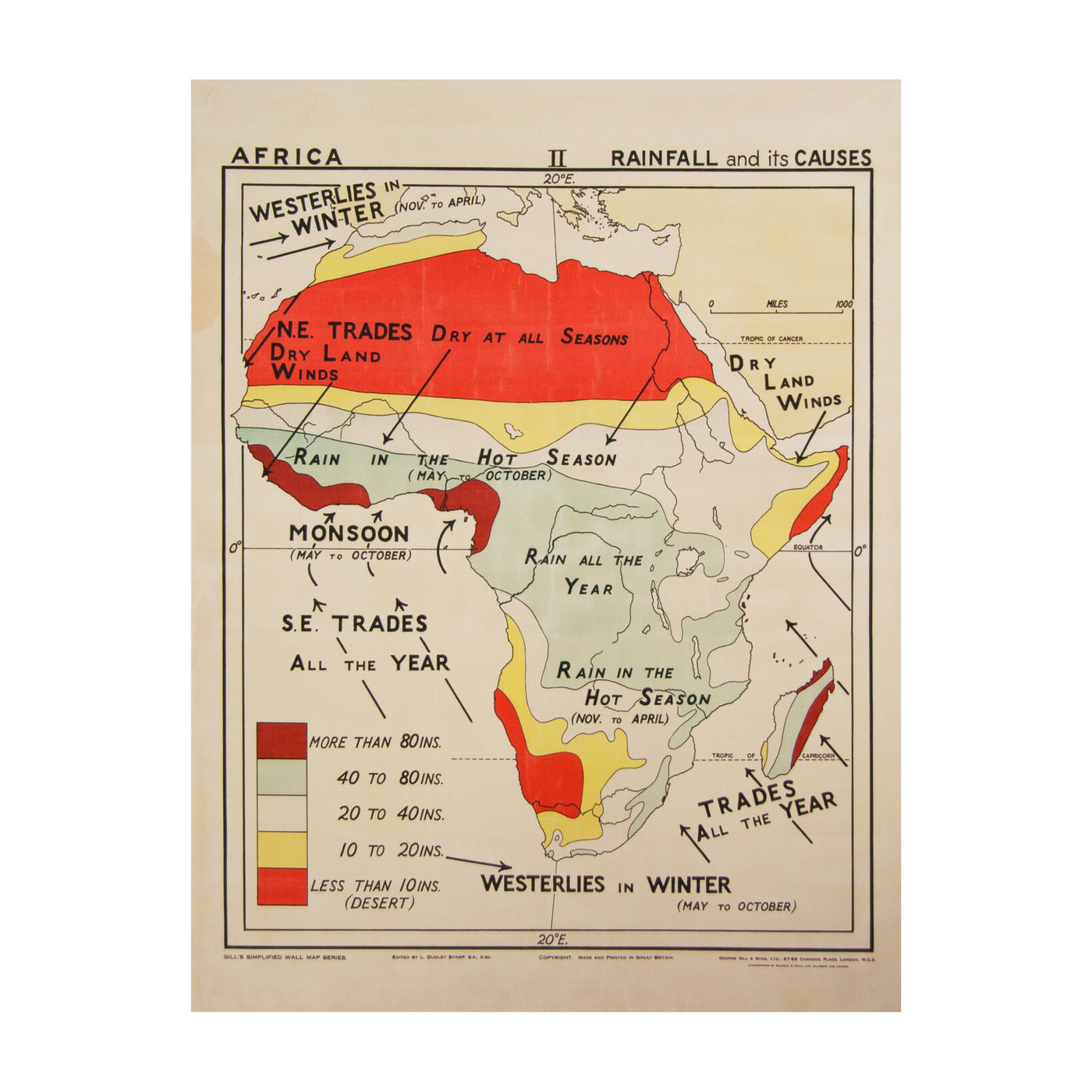 Vintage Africa Map (large  | rainfall) by Safari Fusion www.safarifusion.com.au