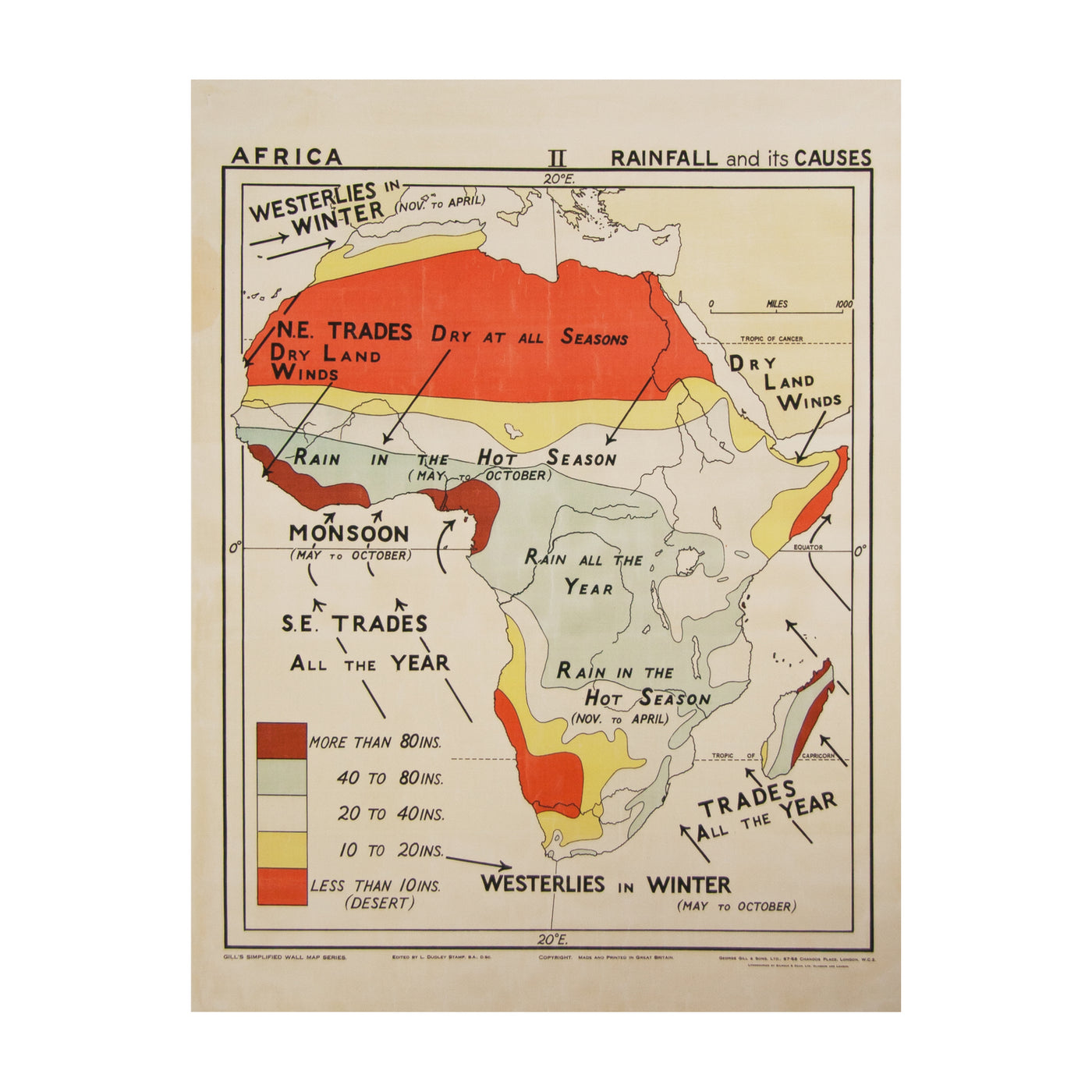 Vintage Africa Map (small | rainfall) by Safari Fusion www.safarifusion.com.au