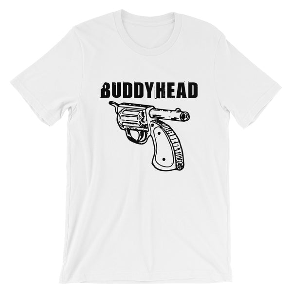 Buddyhead Backwards Gun Logo - White Tee