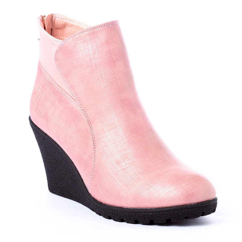 pearlized blush, boots, wedge, fall